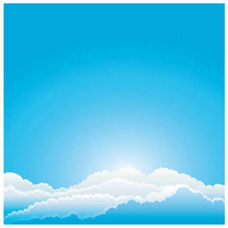 푸른 하늘에 구름 그림입니다. 일러스트