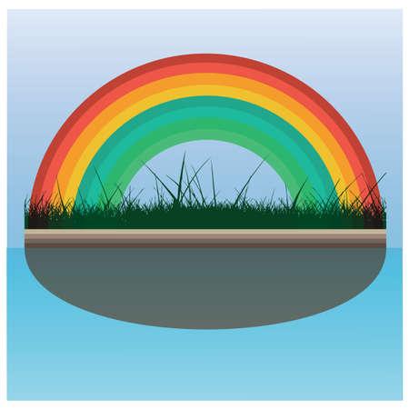 Regenbogen mit Gras Standard-Bild - 81486607
