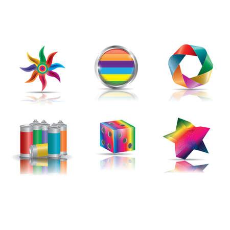 reeks kleurrijke items