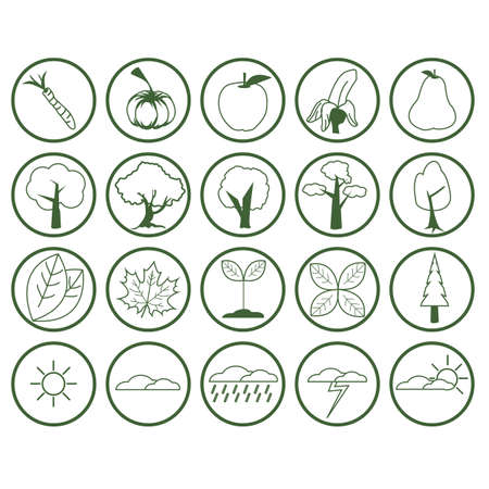 nature icon collection Illustration