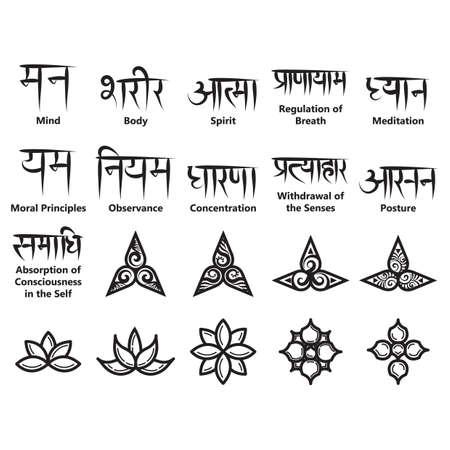 Yoga iconen en Sanskrit teksten Stockfoto - 81537155