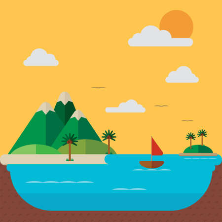 island with mountains background