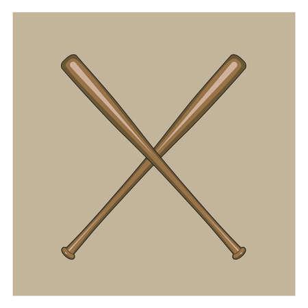 Une illustration croisée des chauves-souris de baseball. Banque d'images - 81470597