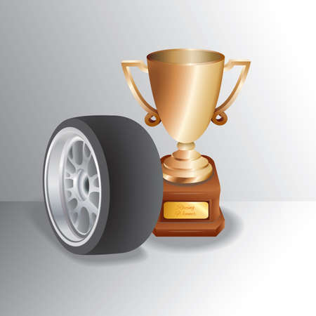 Trophy with tyre 向量圖像