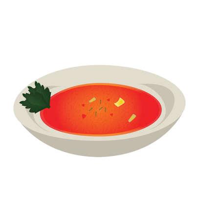 Tigela de sopa de tomate Foto de archivo - 81486602