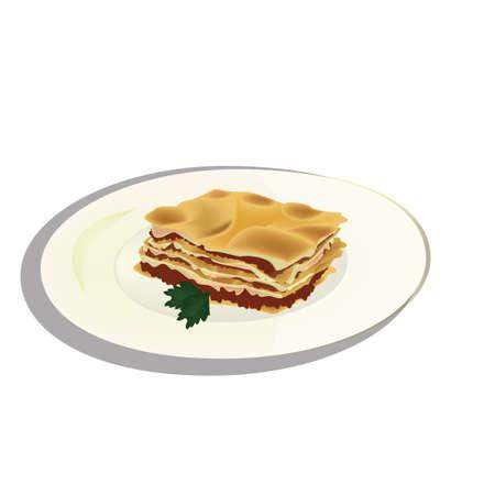 lasagna on a plate Illustration