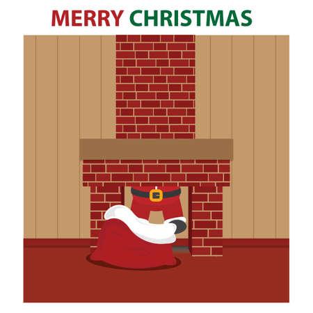 santa in the chimney Illusztráció