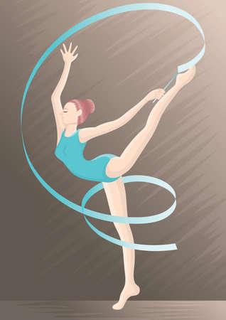 Een ritmische gymnastiekvrouw in actieillustratie.