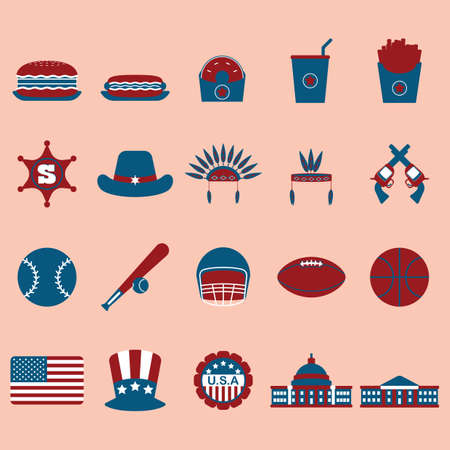 set of american icons 向量圖像