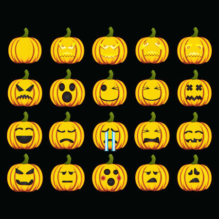 collection of pumpkin with various expressions