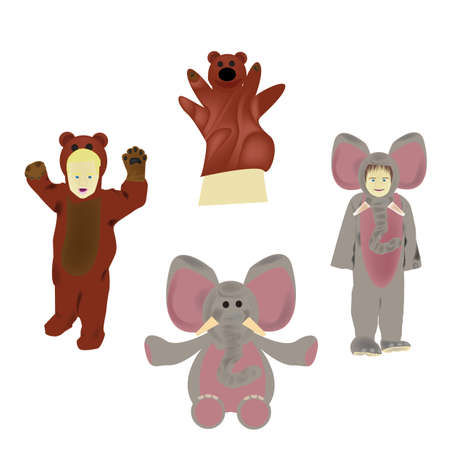 Set of animal costumes and toys