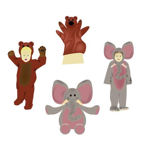 Set van dierlijke kostuums en speelgoed