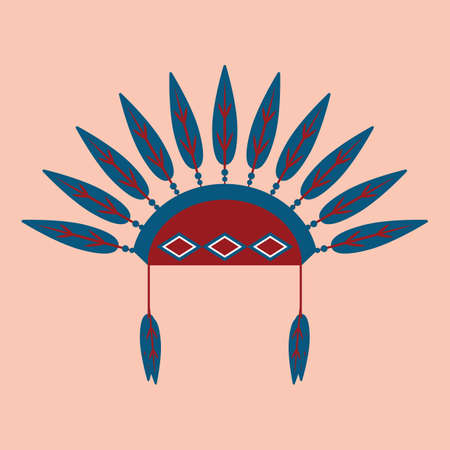 native american female headdress Illustration