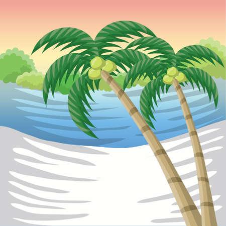 해변에 코코넛 나무
