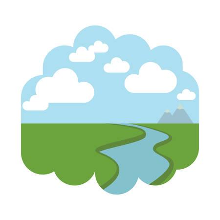 川と土地  イラスト・ベクター素材
