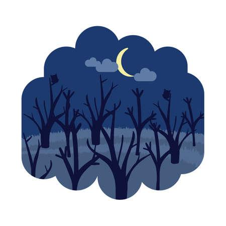 夜の森林  イラスト・ベクター素材
