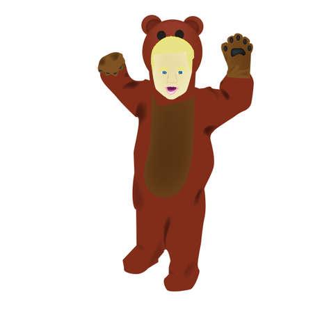 Child in a bear costume Illusztráció