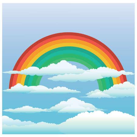 rainbow and clouds Иллюстрация