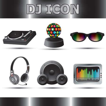 Conjunto de iconos de DJ Foto de archivo - 81537283