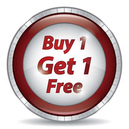 buy one get one free button Illustration