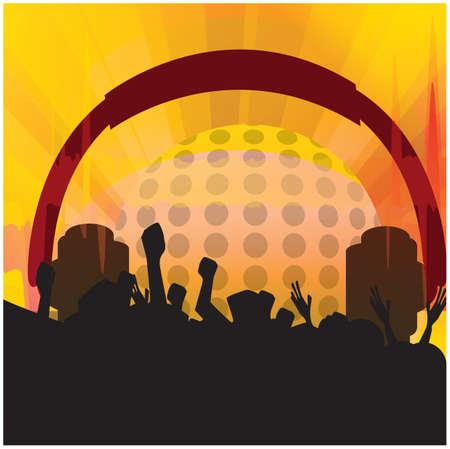 Public bénéficiant d'un événement disco Banque d'images - 81486714