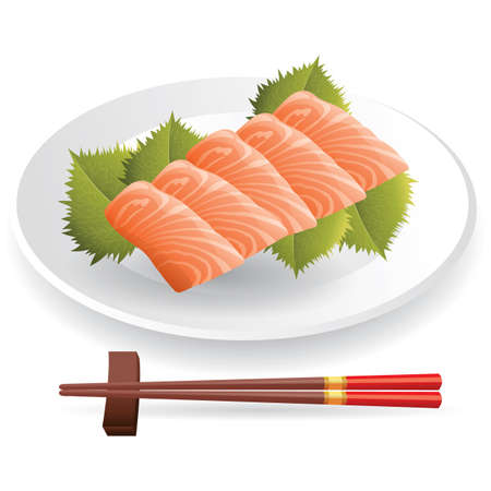 raw salmon dish Illustration