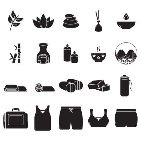 silhouette of exercise and zen icon set