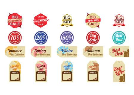 Set van verkoop labels en tags Stock Illustratie