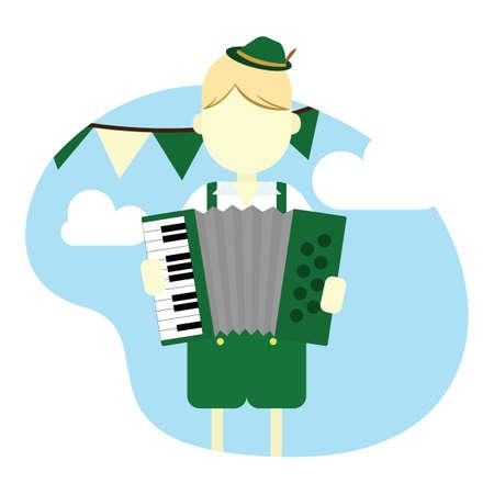 jongen met accordeon Stock Illustratie