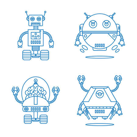 A collection of robots illustration. Çizim
