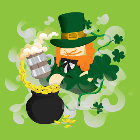 leprechaun with beer mug and pot of gold Foto de archivo - 106671176