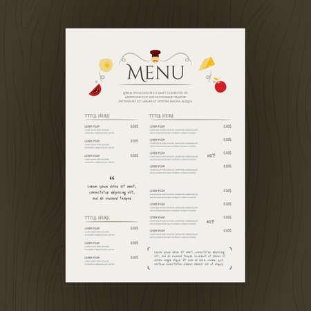 レストラン メニュー カード