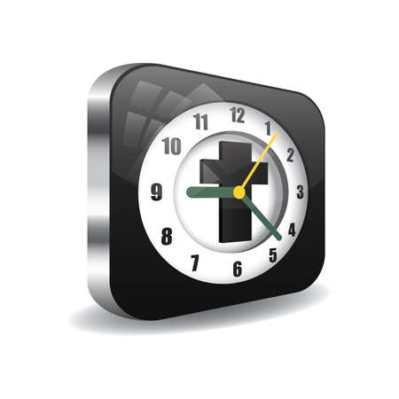 A clock with a cross illustration.