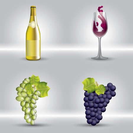 ワインの要素  イラスト・ベクター素材