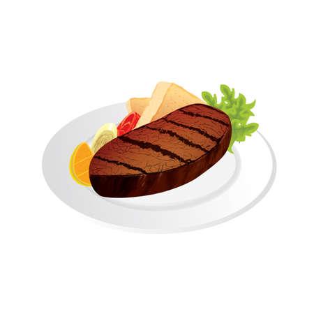 접시에 스테이크 고기