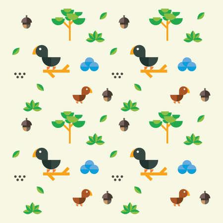 かわいい鳥と自然のデザイン  イラスト・ベクター素材
