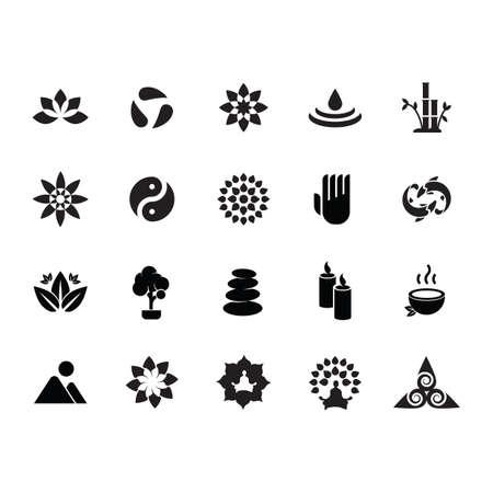 silhouette of zen icon set Illustration
