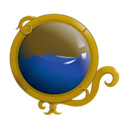 bola de cristal con liquido Ilustración de vector