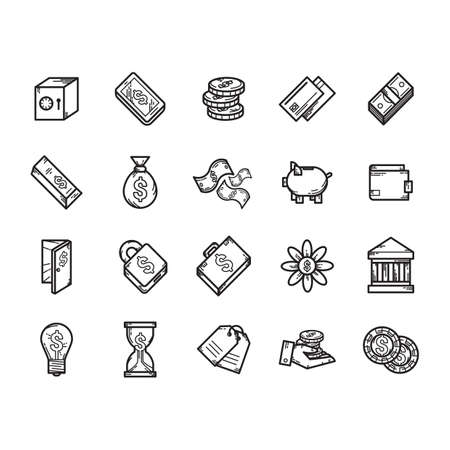 Een geld iconen illustratie.