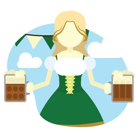 girl holding beer mugs