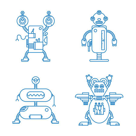 A collection of robots illustration. Illustration