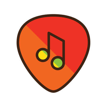 guitar pick with beam note 向量圖像