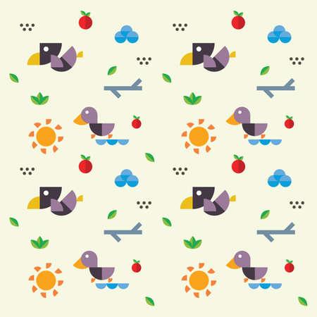 Cute bird and nature design Illustration