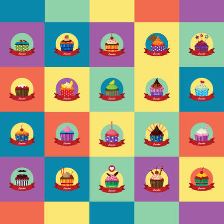 confection: collection of cupcakes Illustration