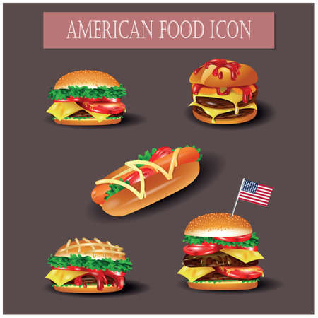 american food icons Ilustrace