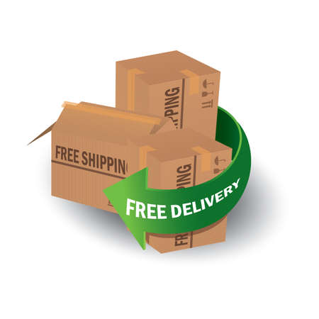 free delivery arrow with parcel boxes Ilustracja