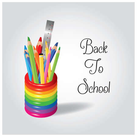 color pencils in pencil holder 向量圖像