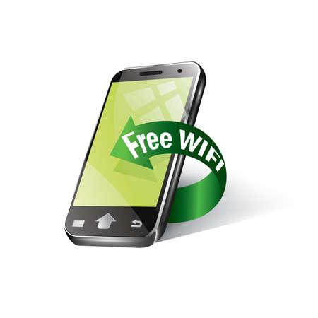 free wifi arrow  and smartphone Stock Vector - 106671366