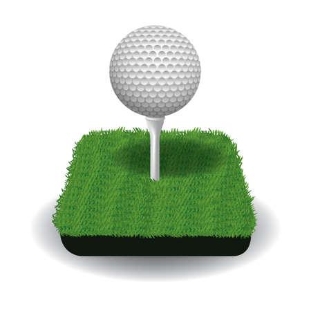Une balle de golf sur une illustration de tee. Banque d'images - 81485888