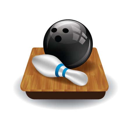 A bowling ball and bowling pin illustration.